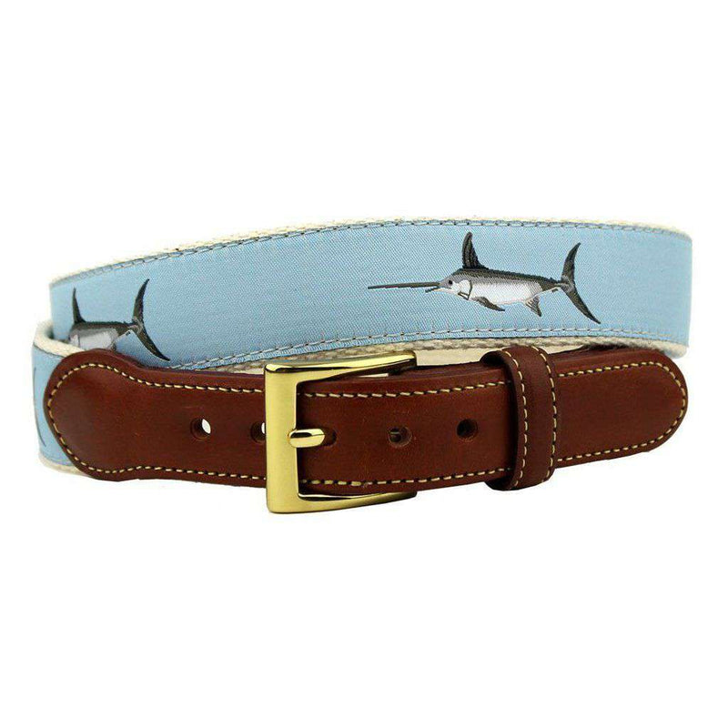 Affable Swordfish Leather Tab Belt in Light Blue by Country Club Prep