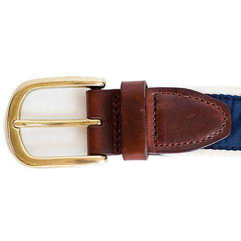 Men's Belts - AL Auburn Leather Tab Belt In Navy Ribbon With White Canvas Backing By State Traditions