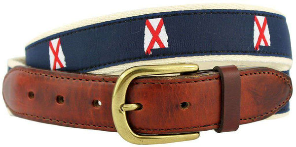 AL Traditional Leather Tab Belt in Navy Ribbon with White Canvas Backing by State Traditions - Country Club Prep