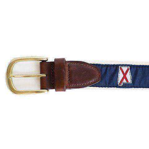 Men's Belts - AL Traditional Leather Tab Belt In Navy Ribbon With White Canvas Backing By State Traditions