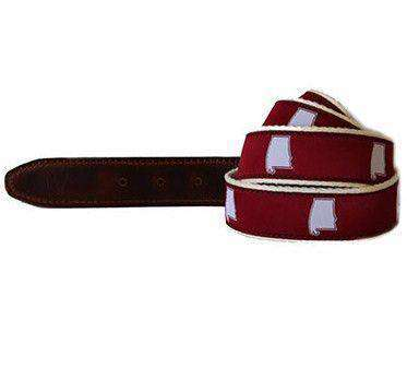 Men's Belts - AL Tuscaloosa Gameday Leather Tab Belt In Crimson Ribbon W/ White Canvas Backing By State Traditions