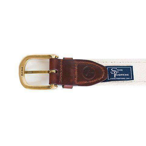 AL Tuscaloosa Gameday Leather Tab Belt in Crimson Ribbon w/ White Canvas Backing by State Traditions