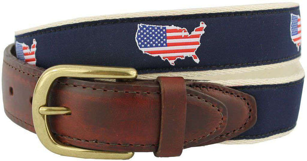 America Traditional Leather Tab Belt in Navy Ribbon with White Canvas Backing by State Traditions - Country Club Prep