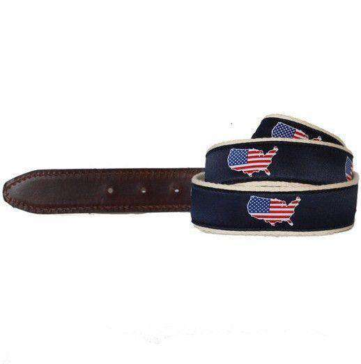 America Traditional Leather Tab Belt in Navy Ribbon with White Canvas Backing by State Traditions