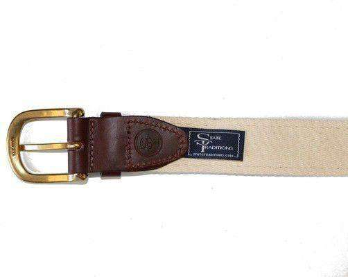 Men's Belts - America Traditional Leather Tab Belt In Navy Ribbon With White Canvas Backing By State Traditions