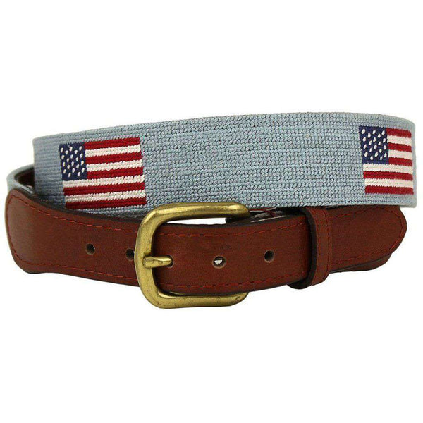 American Flag Needlepoint Belt in Antique Blue by Smathers & Branson