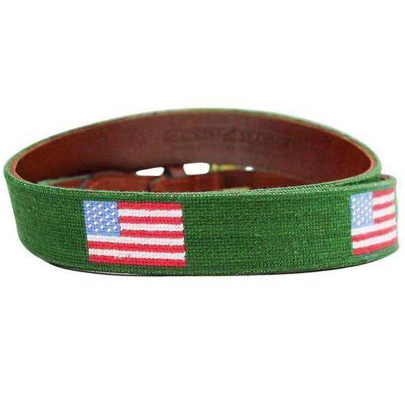 American Flag Needlepoint Belt in Hunter Green by Smathers & Branson
