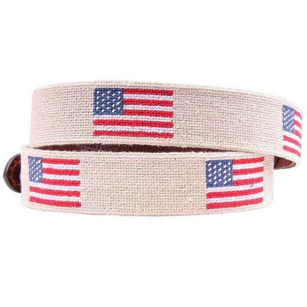 American Flag Needlepoint Belt in Light Khaki by Smathers & Branson