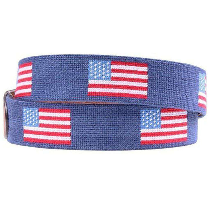American Flag Needlepoint D-Ring Belt in Classic Navy by Smathers & Branson