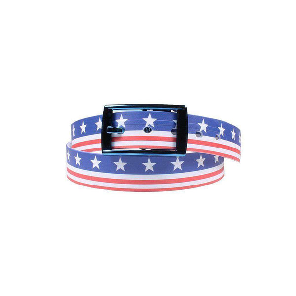 Men's Belts - Americana Throwback Belt With Blue Chrome Buckle By C4 Belts - FINAL SALE