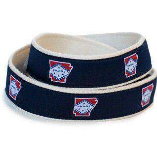 Men's Belts - AR Traditional Leather Tab Belt In Navy Ribbon With White Canvas Backing By State Traditions