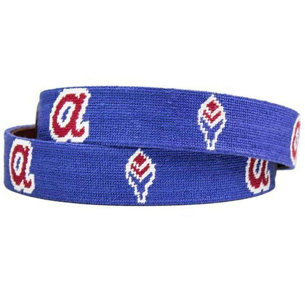 Atlanta Braves Cooperstown Needlepoint Belt in Blue by Smathers & Branson