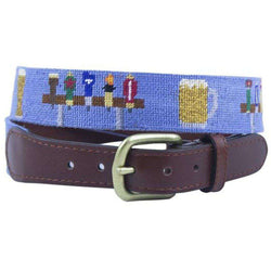 Beer Taps Needlepoint Belt in Navy by Smathers & Branson