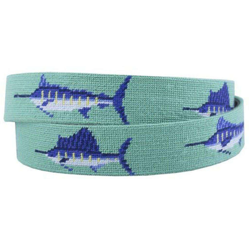 Bill Fish Needlepoint Belt in Mint by Smathers & Branson