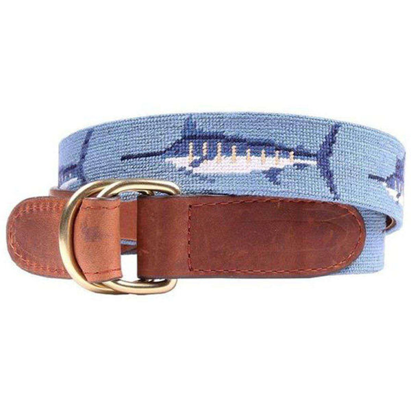Billfish Needlepoint D-Ring Belt in Steel Blue by Smathers & Branson