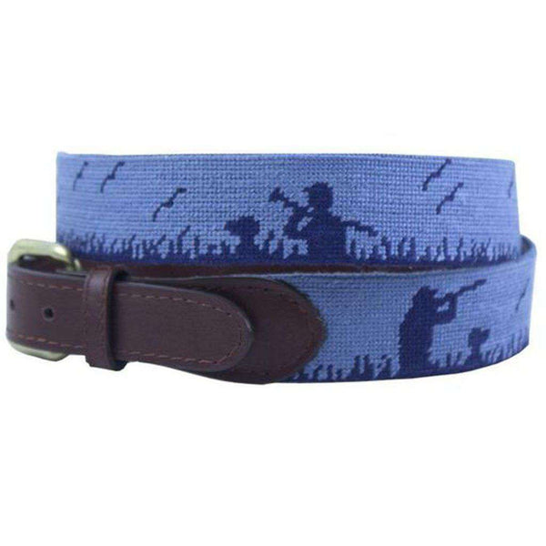 Bird Hunter Needlepoint Belt in Steel Blue by Smathers & Branson