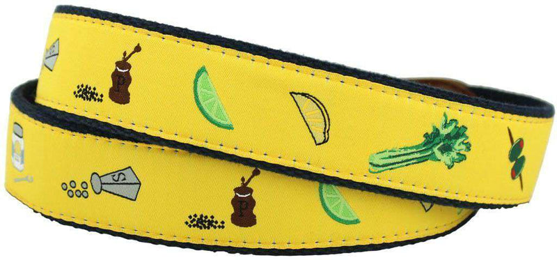 Men's Belts - Bloody Mary Leather Tab Belt In Yellow With Navy Canvas Backing By Knot Belt Co. - FINAL SALE