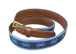 Men's Belts - Blue Crabs Leather-backed Belt By Knot Belt Co. - FINAL SALE
