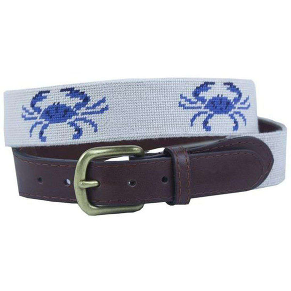 Blue Crabs Needlepoint Belt in Oatmeal by Smathers & Branson
