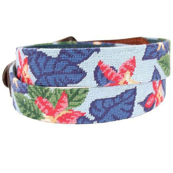 Blue Hawaii Needlepoint Belt by Smathers & Branson