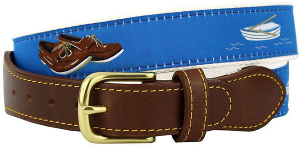Men's Belts - Boat Shoes Leather Tab Belt In Blue Ribbon With White Canvas Backing By Knot Belt Co. - FINAL SALE