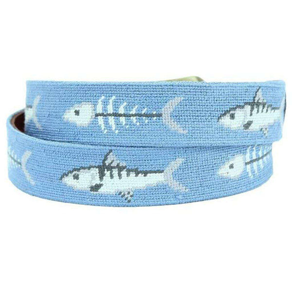 Bonefish Needlepoint Belt in Stream Blue by Smathers & Branson