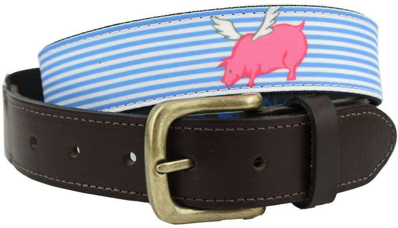 Men's Belts - Bosun Belt In Blue Seersucker With Flying Pig By Castaway Clothing