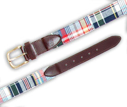 Men's Belts - Bosun Belt In Underhill Patch Madras By Castaway Clothing