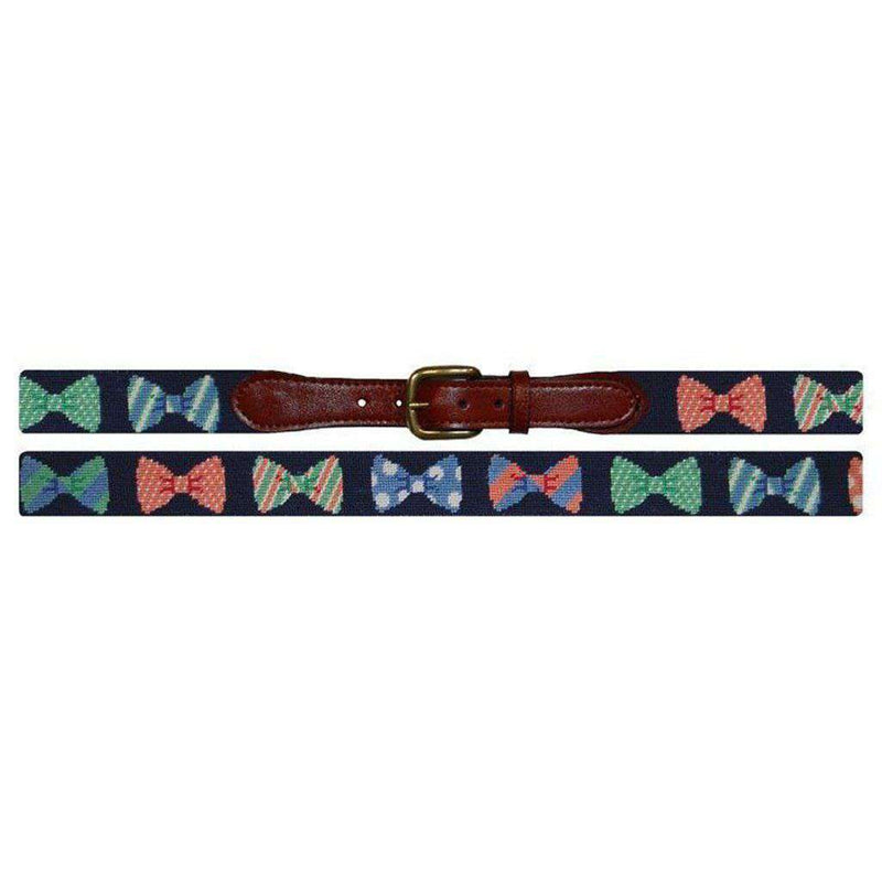 Bow Tie Needlepoint Belt in Navy by Smathers & Branson