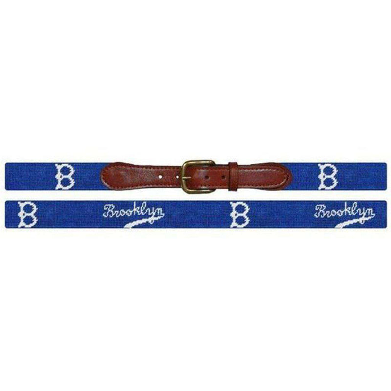 Brooklyn Dodgers Cooperstown Needlepoint Belt in Blue by Smathers & Branson