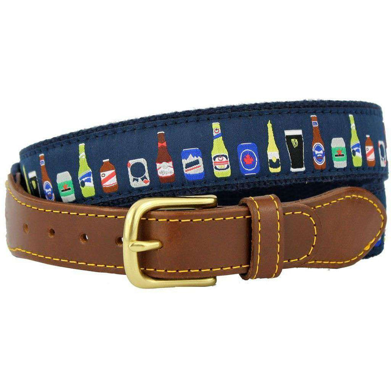 Men's Belts - BYOB Leather Tab Belt In Navy Ribbon With Navy Canvas Backing By Knot Belt Co. - FINAL SALE