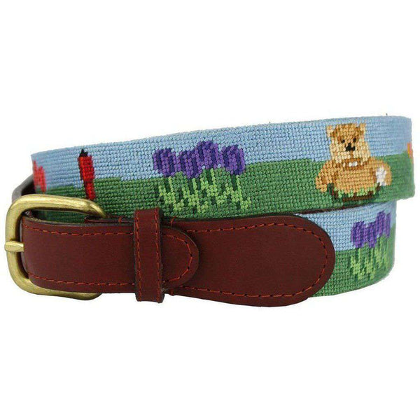 Caddyshack Needlepoint Belt in Blue and Green by Smathers & Branson