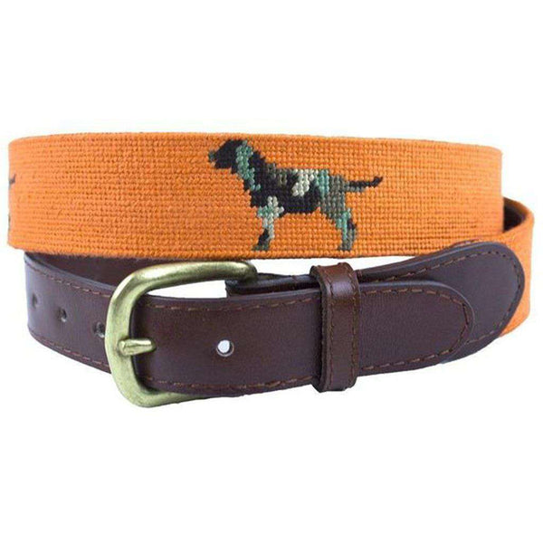 Camo Retriever Needlepoint Belt in Orange by Smathers & Branson