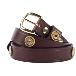 Men's Belts - Cannon's Point Multi Shotgun Shell Belt In Brown Leather By Over Under Clothing