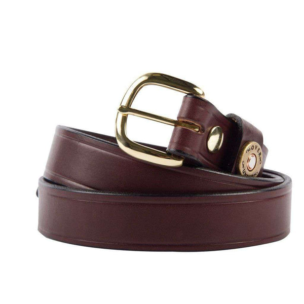 Men's Belts - Cannon's Point Single Shotgun Shell Belt In Brown Leather By Over Under Clothing