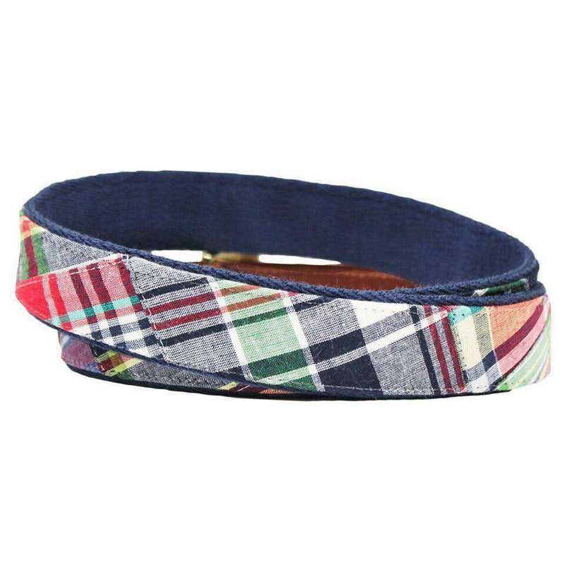 Cape Cod Madras Leather Tab Belt on Navy Canvas by Country Club Prep
