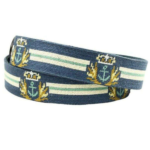 Captain's Needlepoint Belt in Grey by Smathers & Branson