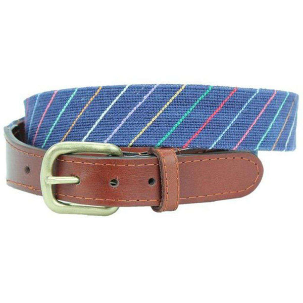 Carter Stripe Needlepoint Belt in Navy by Smathers & Branson