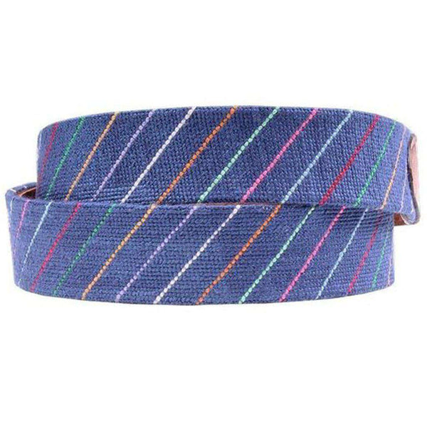 Carter Stripe Needlepoint D-Ring Belt in Classic Navy by Smathers & Branson