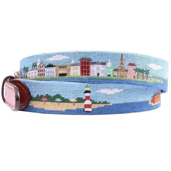 Charleston Scene Needlepoint Belt by Smathers & Branson