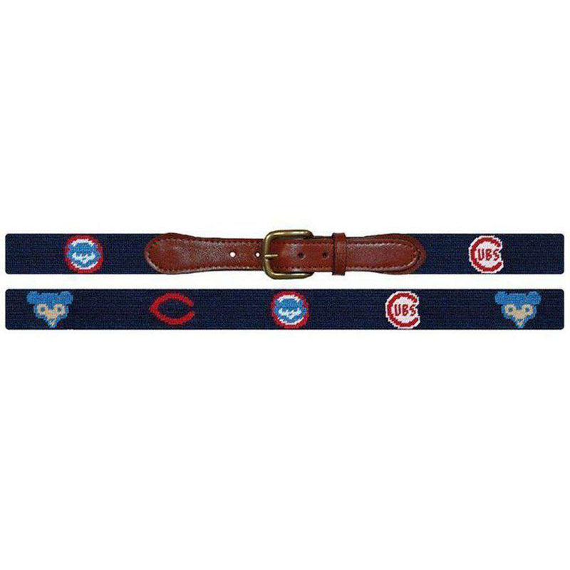 Chicago Cubs Cooperstown Needlepoint Belt in Navy by Smathers & Branson
