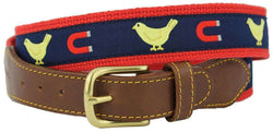 Men's Belts - Chick Magnet Leather Tab Belt In Navy Ribbon With Red Canvas Backing By Knot Belt Co. - FINAL SALE