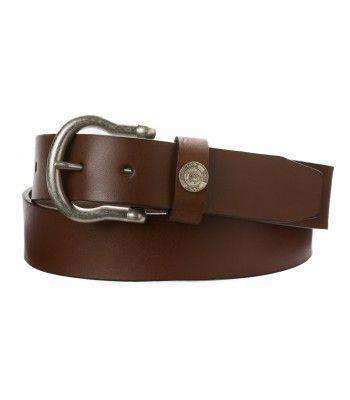Men's Belts - Classic Leather Shackle Belt In Medium Brown By Southern Tide