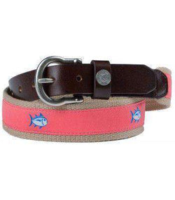 Men's Belts - Classic Skipjack Canvas Belt In Coral By Southern Tide