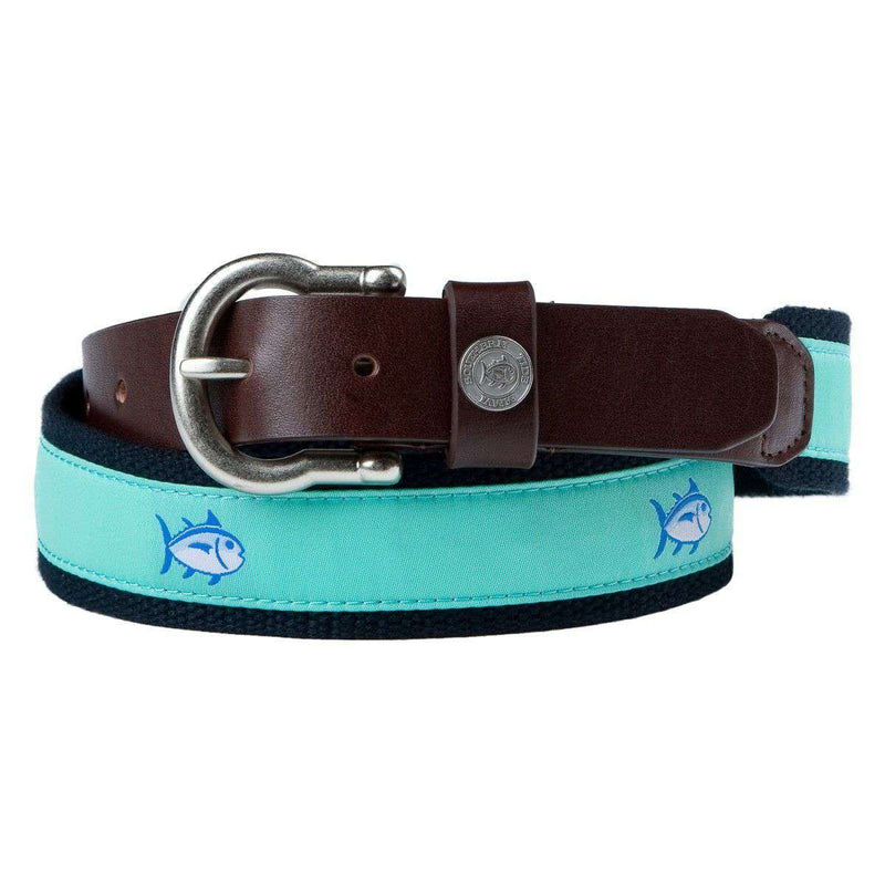 Men's Belts - Classic Skipjack Canvas Belt In Sea Glass By Southern Tide