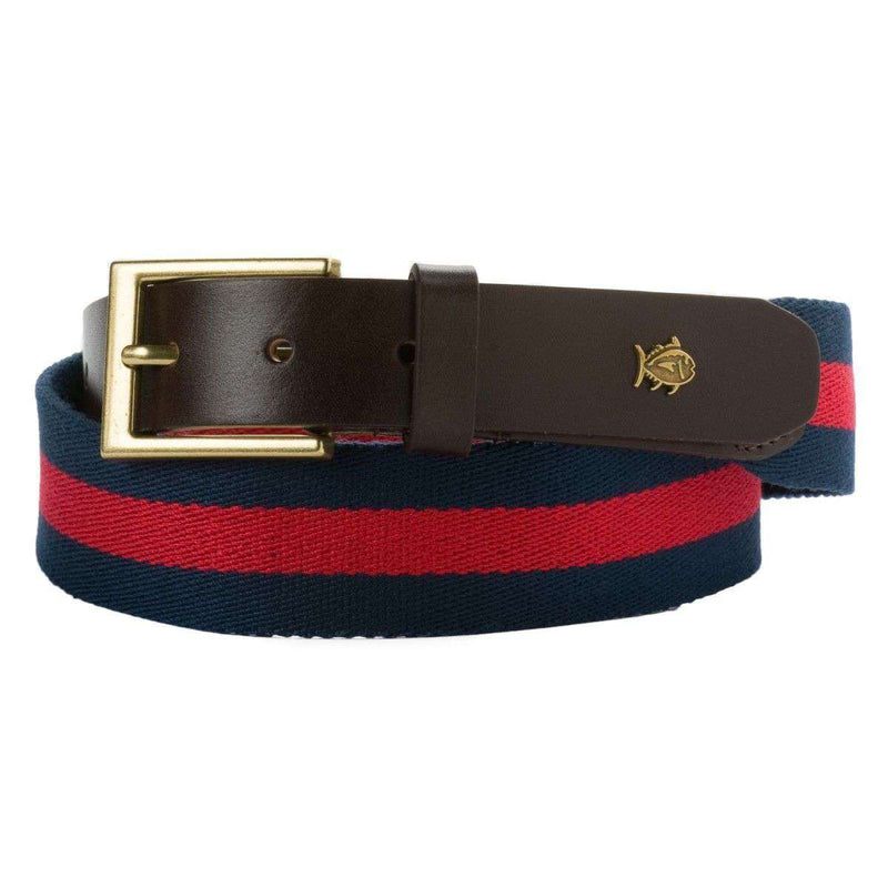 Men's Belts - Classic Surcingle Belt In Midnight Blue & Red By Southern Tide
