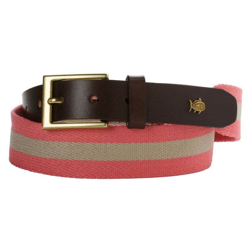 Men's Belts - Classic Surcingle Belt In Salmon & Khaki By Southern Tide