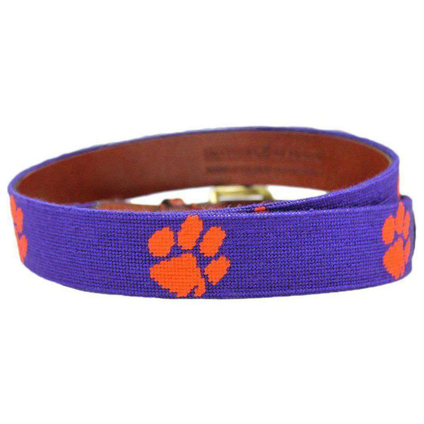 Clemson Needlepoint Belt in Purple by Smathers & Branson