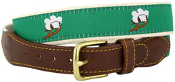 Men's Belts - Cotton Boll Leather Tab Belt In Green Ribbon With White Canvas Backing By Knot Belt Co. - FINAL SALE