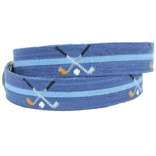 Crossed Clubs Needlepoint Belt in Classic Navy by Smathers & Branson
